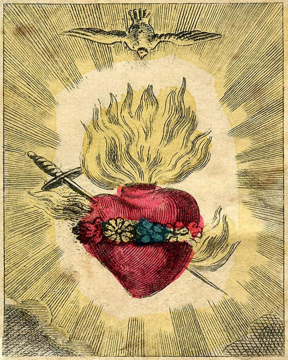 Vintage Sacred Heart Print The Immaculate Heart of   Etsy