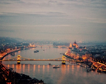 Dreamy Europe Photo - Budapest Danube River Lights - Fine Art Fairy Tale Photograph Print