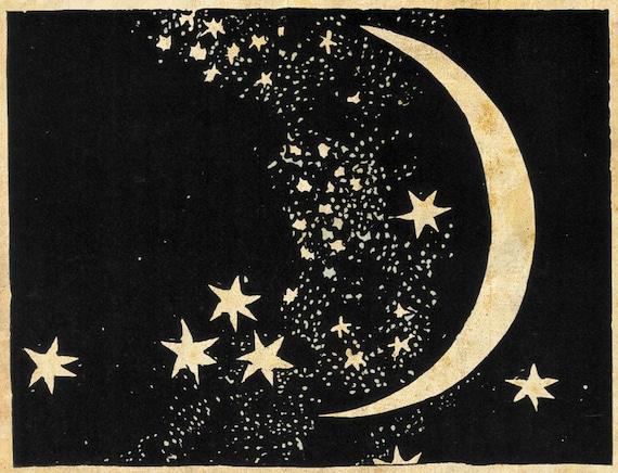 moon and stars art print elegant paper cut night sky etsy
