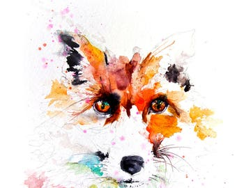LIMITED edition print of my FOX 16wall art, home decor, nursery art, wildlife animal art.  hand signed, illustration, animal art