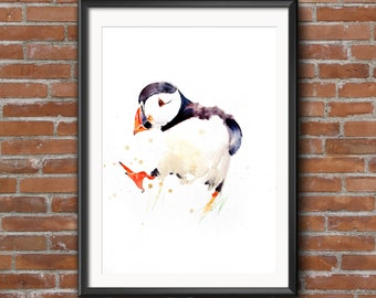 Puffin print, PUFFIN 6wall art, home decor, nursery art, wildlife animal art.  hand signed, illustration, animal art