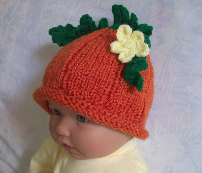Custom handmade knit Pumpkin Baby hat cap beanie-0-12M Cute Photo prop Baby shower Gift,