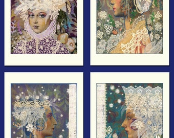 Set of four blank greeting cards plus envelopes by Lynne Perrella