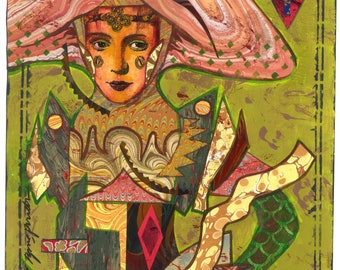 Original Artwork, The MARBLED QUEEN of DIAMONDS , Mixed Media Collage by Lynne Perrella