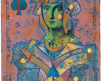 Original Artwork, The MARBLED QUEEN of SPADES , Mixed Media Collage by Lynne Perrella