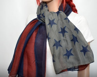 American Flag Scarf - Patriotic scarf - Independence Day  - 4th of July scarf shawl wrap