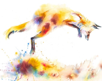 Leaping Fox Expressive Watercolour