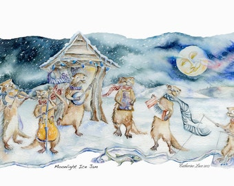 Moonlight Ice Jam Giclee Reproduction