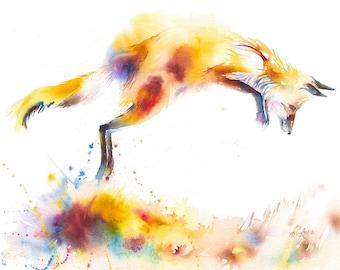 Leaping Fox Watercolour Print