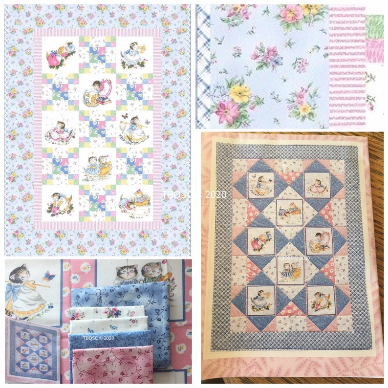 Vintage Kitty Cucumber Handmade Baby Toddler Quilt  34 x 48 image 0