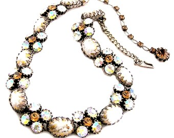Vendome Necklace Off White Cabochons Gold Fluss Amber Crystals and Amber AB Crystals