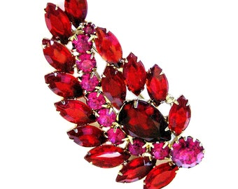 Weiss Large Scarlet Red and Deep Pink Leaf Figural Brooch