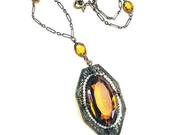 Amber Glass and Seed Pearl Pendant Necklace c.1915-1925