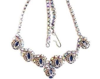 Sparkling Blue Aurora Borealis Rhinestone Necklace
