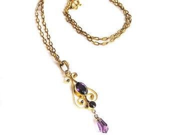 Art Deco Amethyst Glass Pendant Necklace c.1930's