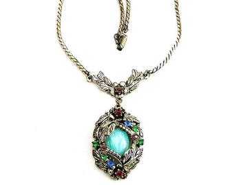 Art Deco Pendant Necklace c.1930 Aqua Glass  Pendant
