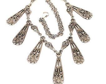 Art Nouveau Teardrop Shape Fringe Necklace