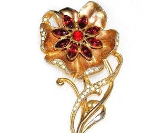 Art Deco Retro Period Lovely Red Diamante Flower c.1930-1940