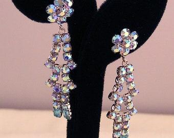 Floral Earrings Long AB Blue Dangles