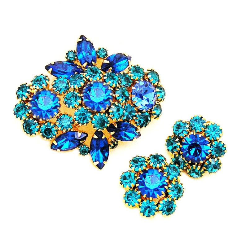 Bermuda Blue Sapphire Blue and Teal Vintage Brooch and Earring image 0