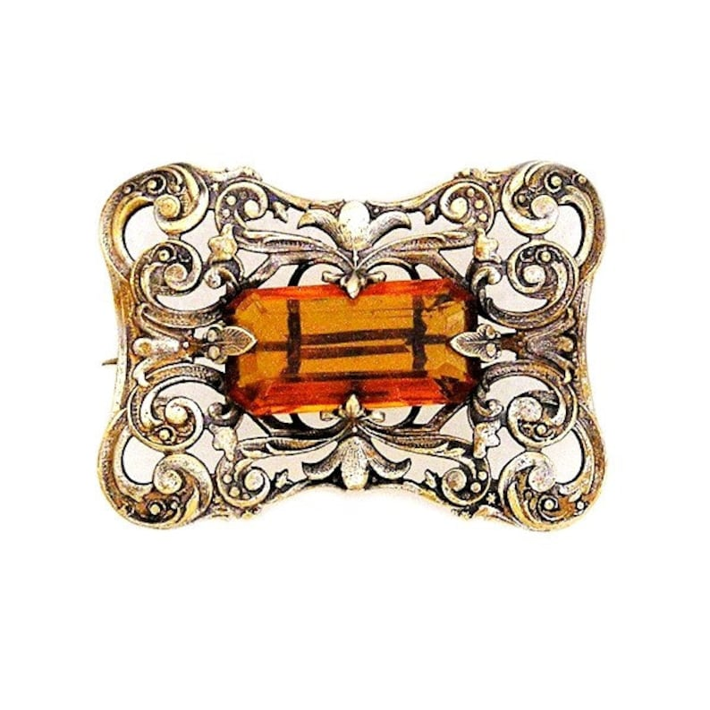 Edwardian Amber Glass Gilt Brooch c.1910-1920 image 0