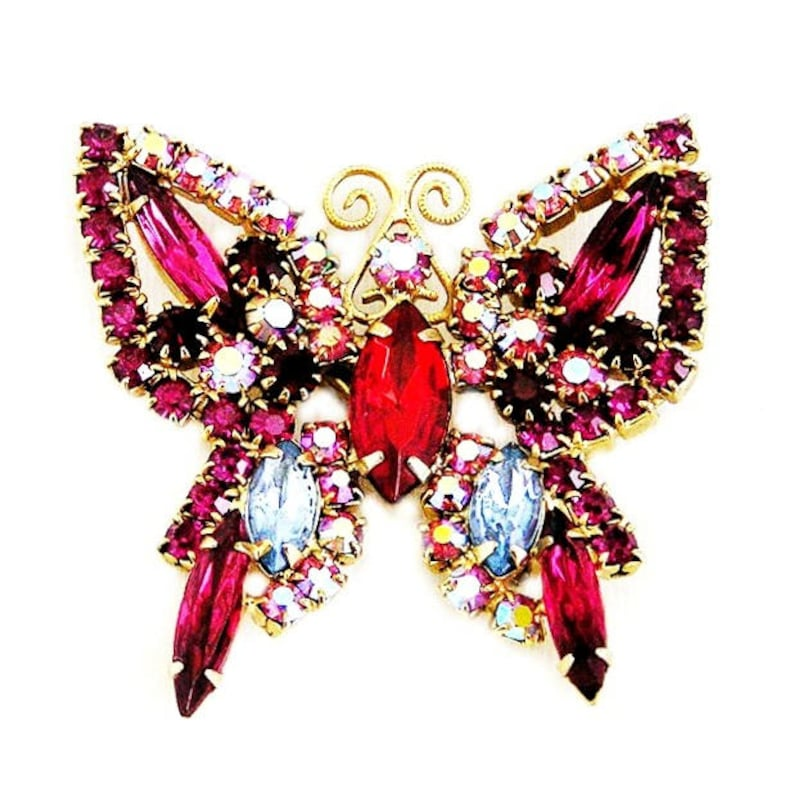 Red Fuchsia Pink and Blue Butterfly Figural Brooch image 0