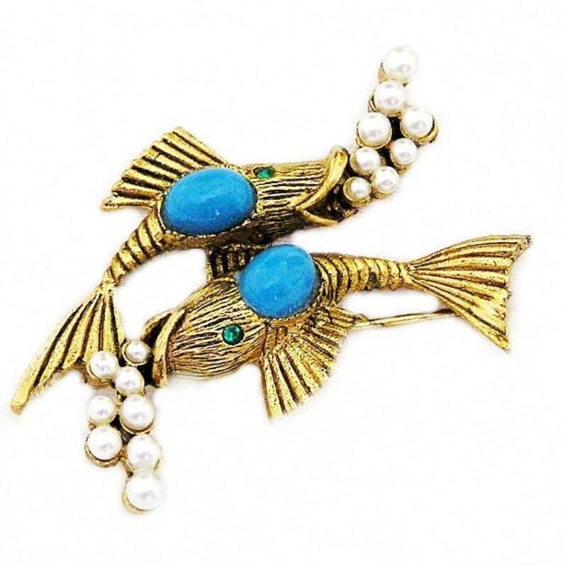 Coro Aqua and Pearl Fish Figural Booch image 0