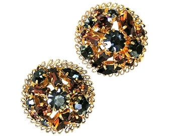 Austria Charcoal and Amber Clip On Round Earrings