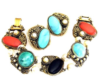 Victorian Revival Bracelet with Matching Clip on Earrings Set