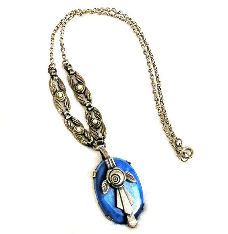 Art Nouveau Blue Satin and Pearl Floral Pendant Necklace image 0