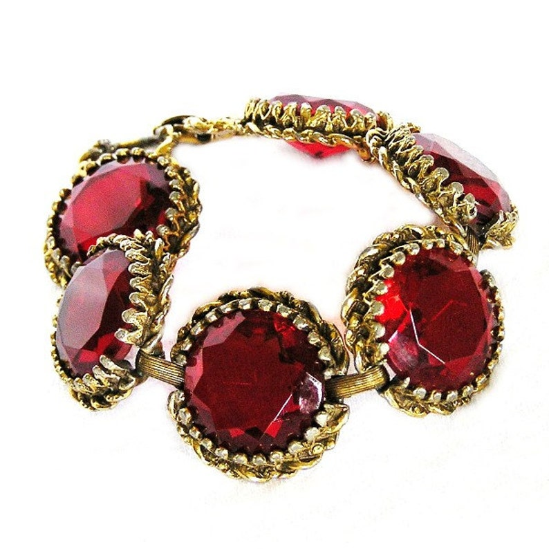 Czech Art Deco c1920 Red Faceted Glass Bracelet image 0