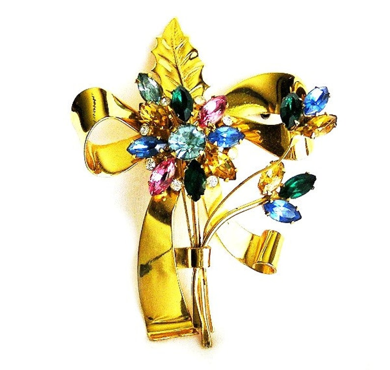 Coro Sterling Flower Brooch Large and Colorful image 0