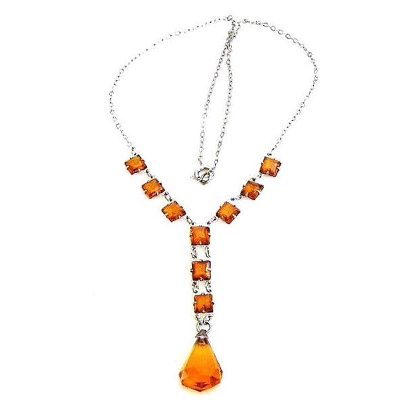 Edwardian Amber Glass Lavaliere Necklace image 0