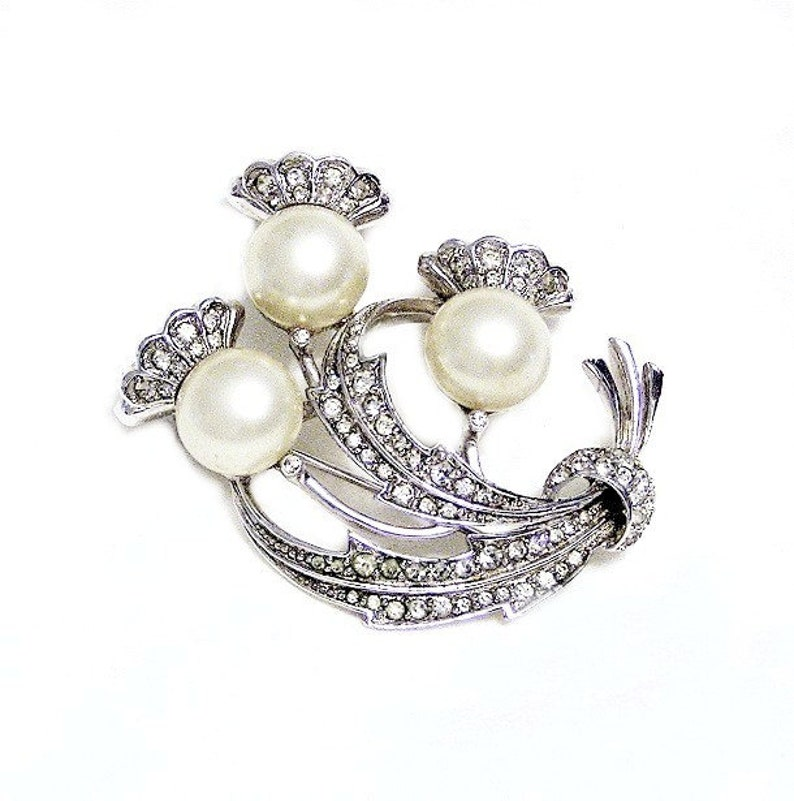 Pennino White Pearl and Crystal Flower Brooch image 0