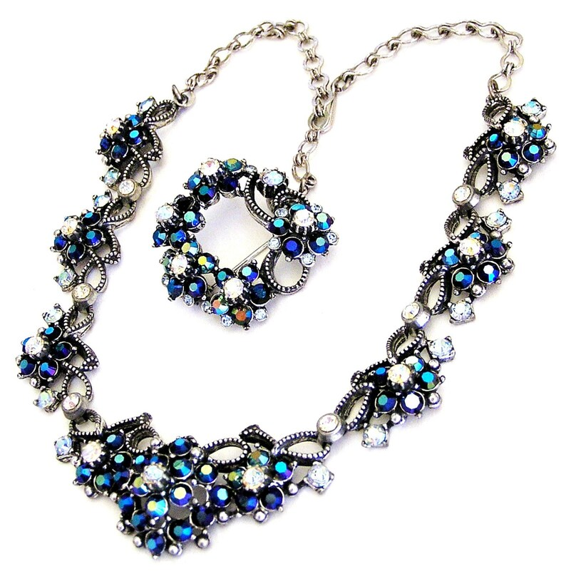 Florenza Dark Sapphire Blue and Clear Aurora Borealis Set image 0