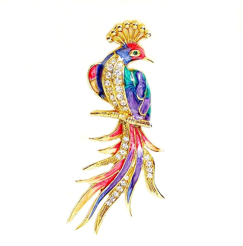 Big Peacock Rhinestone Brooch with Soft Muted Enamel Colors image 0