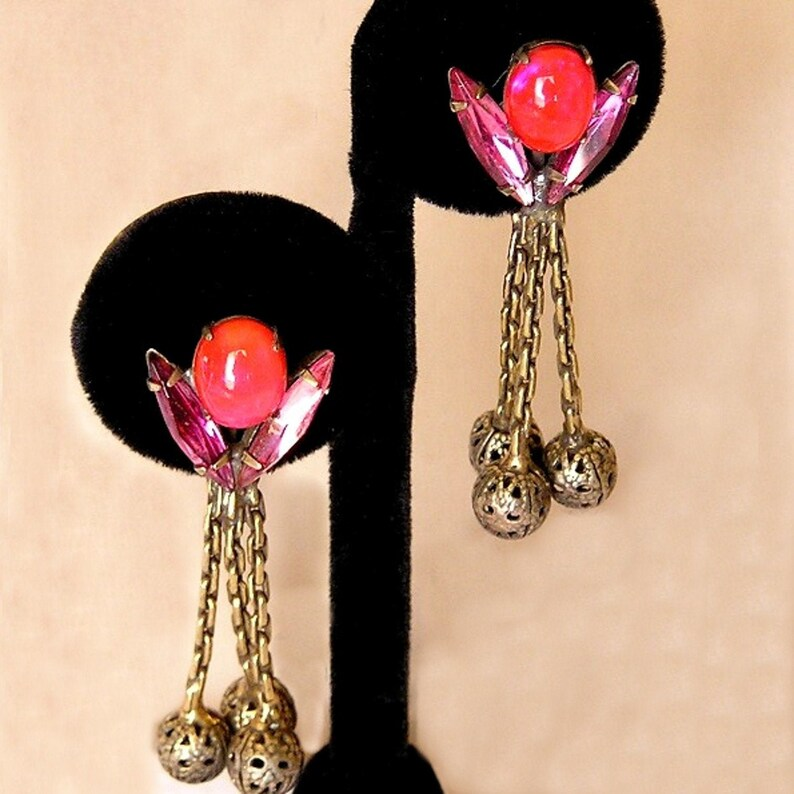 Vintage Hot Pink and Red Clip on Dangle Earrings image 0