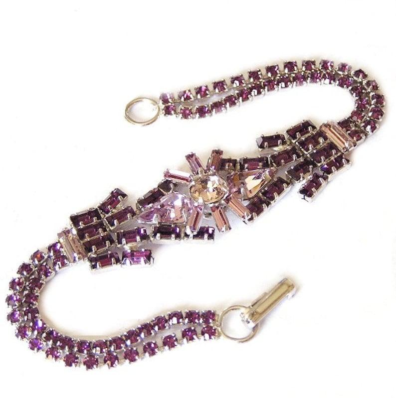 Vintage Jay Flex Sterling Amethyst and Lavender Bracelet image 0