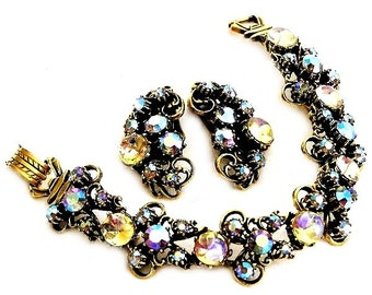Florenza Pale Yellow and Blue Bracelet and Earring Set