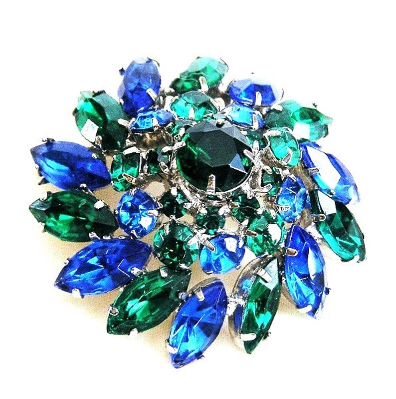 Blue and Green Domed Brooch Immaculate image 0
