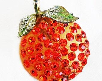 Austria Forbidden Fruit Orange Figural Brooch c.1950