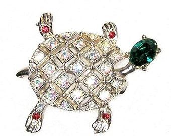 Ora Signed Green Headed Turtle Figural Brooch