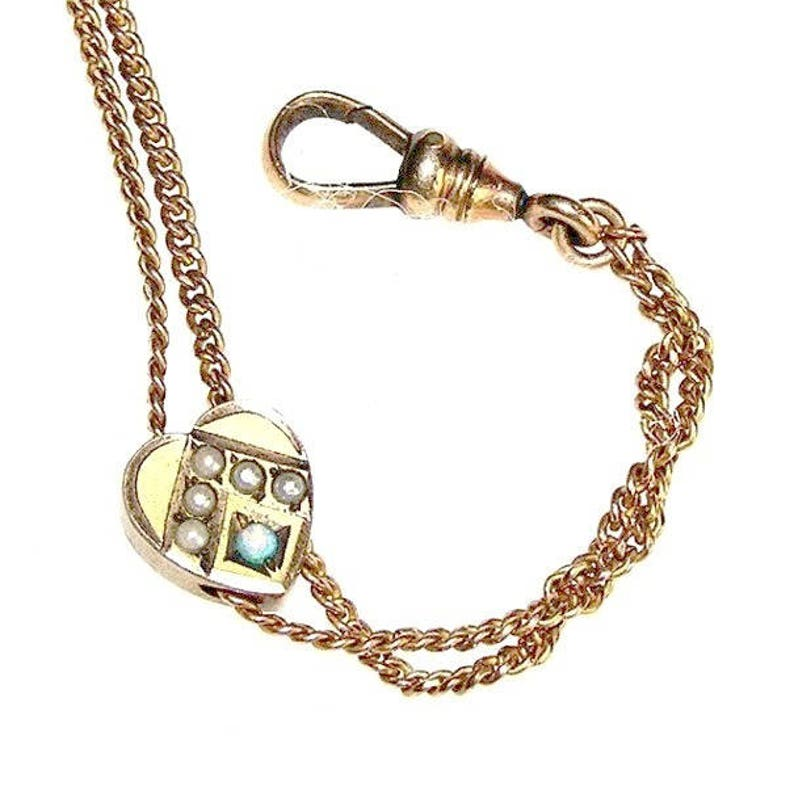 Victorian Long Chain Pearl Opal Necklace c.1860-80 image 0
