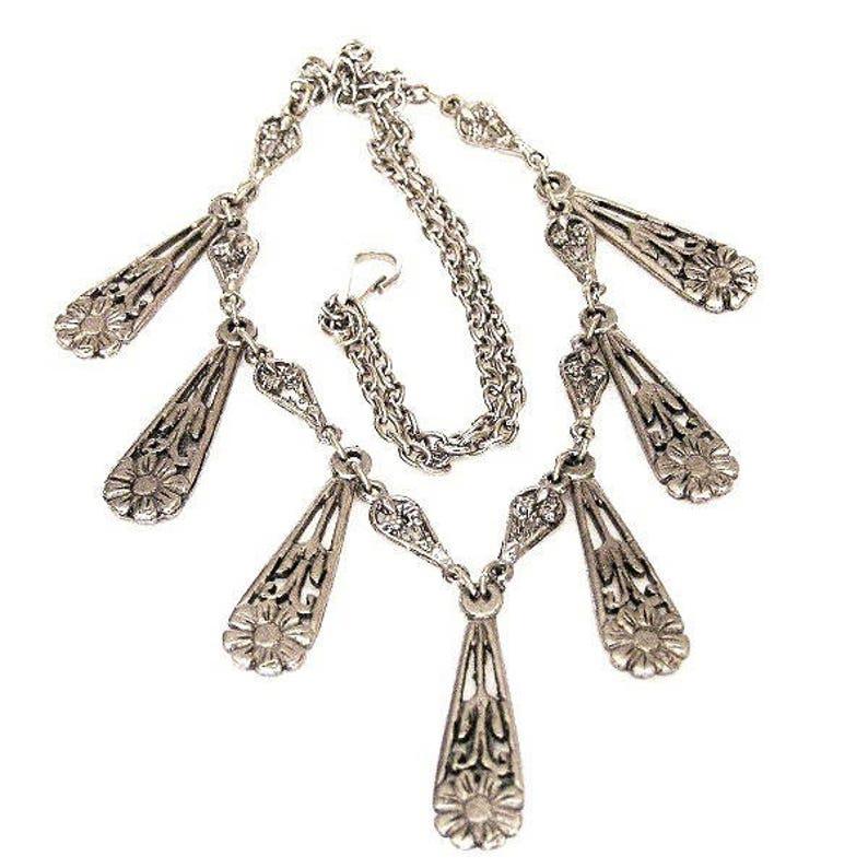 Art Nouveau Teardrop Shape Fringe Necklace image 0