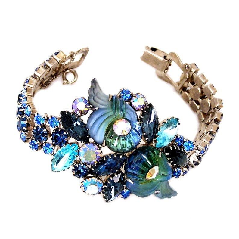 Edlee Blue Green and Aqua Fluted Molded Glass Bracelet image 0