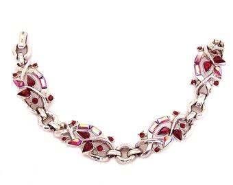 Trifari Pat Pend Siam Red With Red AB Rhinestone Bracelet