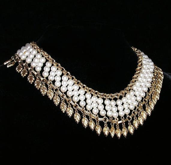 Egyptian Revival Pearl Collar Necklace - image 2
