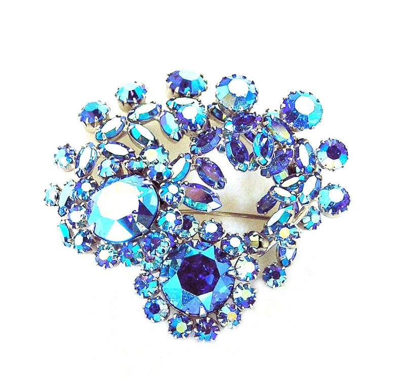 Sherman Sapphire Blue Swirling Brooch With Blue Aurora image 0