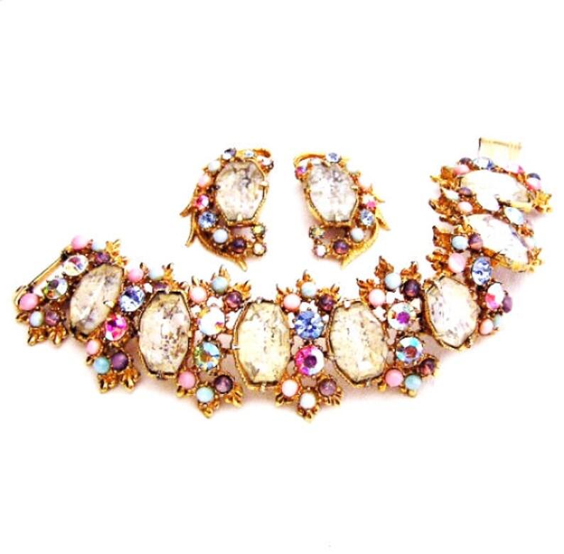 Florenza White Cloud Demi Parure Bracelet and Earrings Set image 0