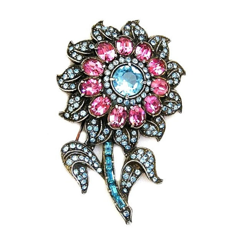 Aqua and Pink Transitional Flower Brooch image 0